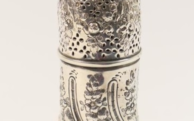 Victorian silver sugar sifter, London 1889, cylinder form repousse...