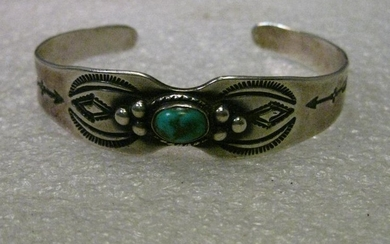 Vintage Sterling Silver Turquoise Native