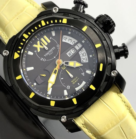 "Visconti - Automatic Full Dive 500 Chrono Gun Yellow Leather Strap - KW51-05 ""NO RESERVE PRICE"" - Men - NEW"