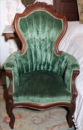 Walnut Victorian Style Arm Parlor chair