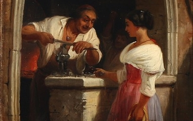 Wilhelm Marstrand: A young Italian girl having her knife sharpended at the blacksmith. Oil on canvas. 31×23 cm.