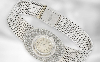 Wrist watch: noble, white-gold vintage ladies watch from Longines with diamonds, ca. 1,2ct, 18K white gold