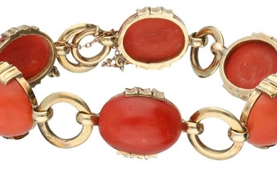 Yellow gold bracelet, with red coral - 14 ct.