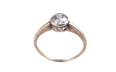 Yellow gold ring decorated with a diamond weighing approx. 0.9...