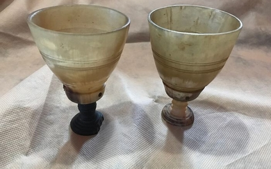 chalices (2) - horn, wood - Early 19th century