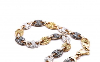 10k Yellow Gold Multi-Colored Diamond Necklace