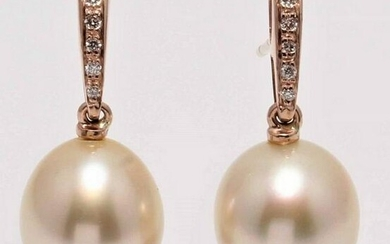 14 kt. Rose Gold - 10x11mm Golden South Sea Pearls