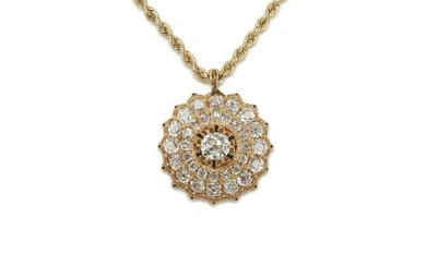 14K Gold, Diamond, and Enamel Pendant Necklace