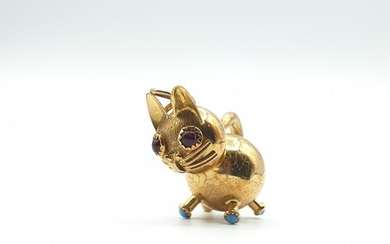 14ct yellow gold chubby cat with garnet eyes and turquoise p...