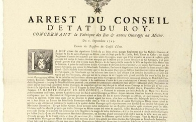 """1723. CHAMPAGNE. OUVRAGES AU MÉTIER. CHALONS (51). """"Arrest of the Council of State of the KINGDOM, concerning the Factory of the BAS & other works with Trade"""". of September 6, 1723. followed by the Ordinance of L'ESCALOPIER Intendant in the Province &..."""