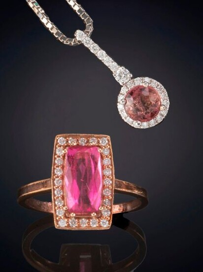 18K ROSE GOLD TOURMALINE PENDANT AND RING WITH TOURMALINE DECORATED WITH SMALL DIAMONDS. Price: 300,00 Euros. (49.916 Ptas.)