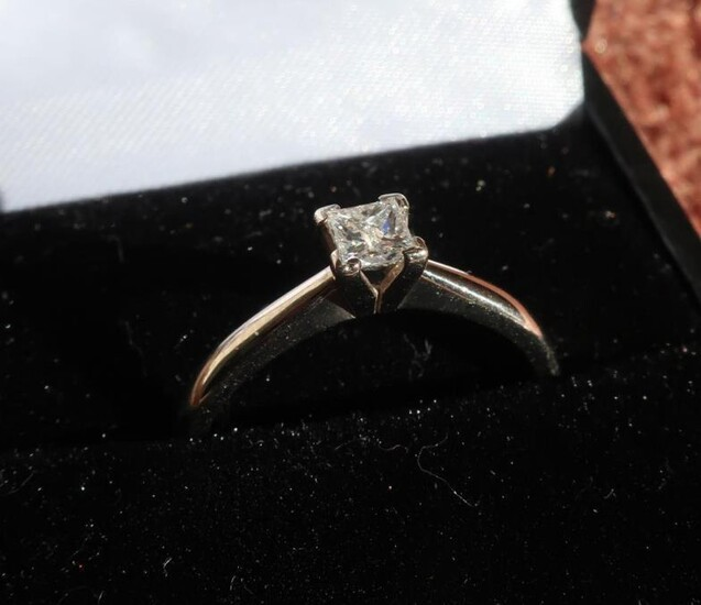 18ct white gold diamond solitaire ring with square cut...