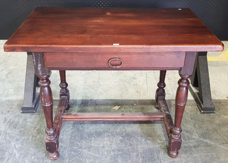 18th Century Style French Oak Side Table, with rectangular top and frieze drawer, on turned legs with stretchers. H: 72.5, W: 96, D:...