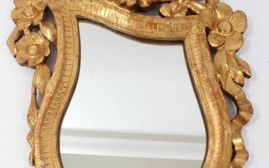 18th century Continental carved giltwood asymmetric wall mirror