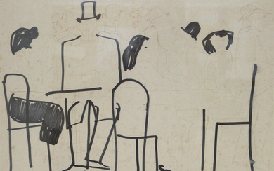 David Schneuer (1905-1988) - Figures in the Cafe, Ink on Paper.