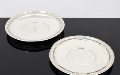 2 Sterling Silver Serving Trays, Richard Dimes & Wallace