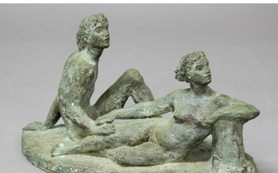 20TH CENTURY SCHOOL, Nude young couple on an oval base, bron...