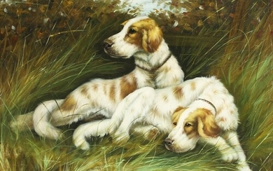 20th century school, A study of two working dogs resting on ...