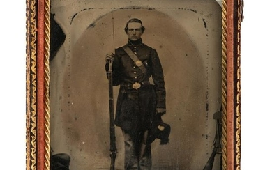 Civil War Quarter Plate Tintype of Private from the