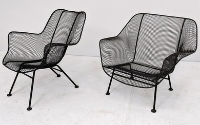 2pc RUSSELL WOODARD Arm Chairs. Low lounge chair and ta