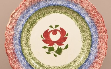 3 Color Spatter Early Adams Rose Pattern Soup Plate.