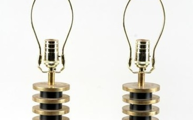 PAIR MODERNIST BRASS TABLE LAMPS STACKED DISK