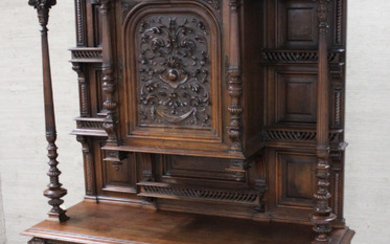 IMPRESSIVE FRENCH CARVED SOLID WALNUT CABINET ON STAND