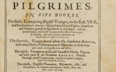 World.- Purchas (Samuel) Purchas his Pilgrimes. In Five Books..., 5 vol., first edition, 7 folding engraved maps, contemporary calf, by William Stansby for Henrie Fetherstone, 1625-26