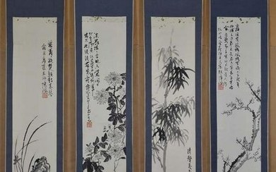 4 Chinese scroll paintings 4 NOBLES plum orchid bamboo