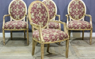 4 French Taste Upholstered Dining Chairs