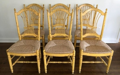 6 French Country Rush Hand Painted Dining Chairs