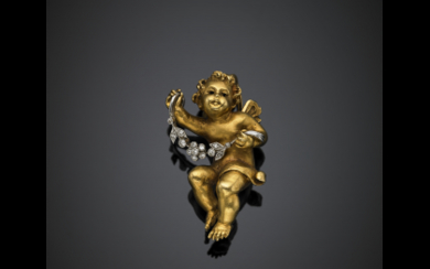 Yellow gold brooch with a putto holding a white...