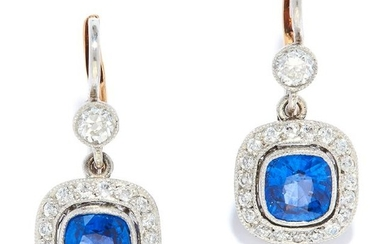 SAPPHIRE AND DIAMOND CLUSTER EARRINGS in 18ct gold or