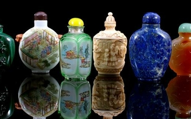 8 Chinese jade, stone, glass and porcelain bottles