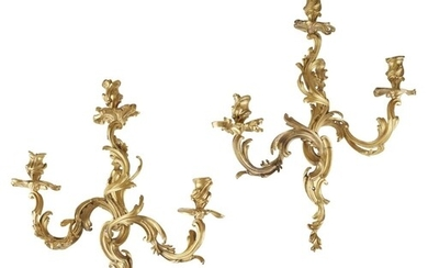 A 19TH CENTURY PAIR OF FINE LOUIS XV STYLE GILT BRONZE WALL ...