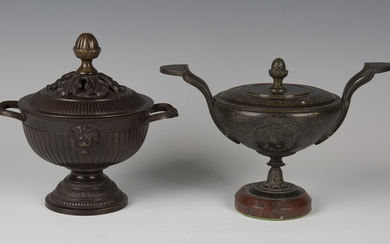 A 19th century French brown patinated cast bronze ornamental urn and cover of Classical twin-handled