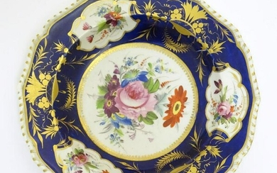 A Bloor Derby soup dish / plate with a cobalt ground