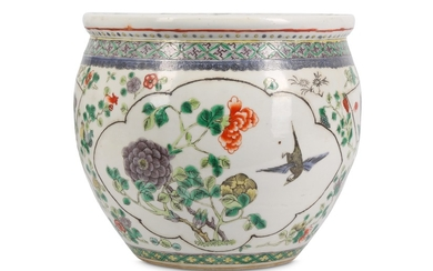 A CHINESE FAMILLE VERTE FISH BOWL.