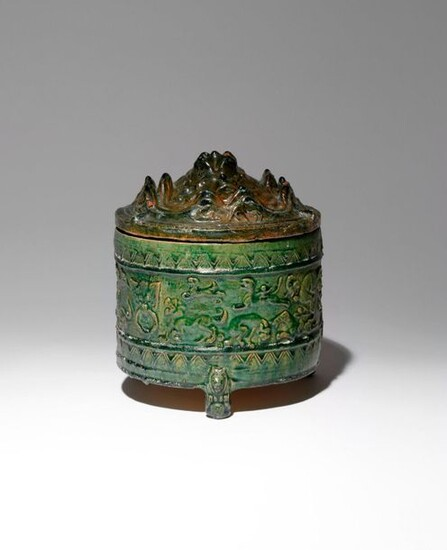 A CHINESE GREEN GLAZED POTTERY 'HILL' JAR AND COVER HAN...
