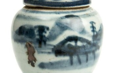 A Chinese Porcelain Blue and White Lidded Jar on Wooden