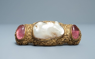 A Chinese baroque pearl and rose quartz inset...