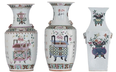 A Chinese famille rose fanghu vase, decorated with flower baskets...