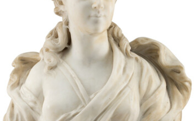 A Continental Marble Female Bust (late 19th-early 20th century)
