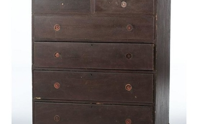 A Country Chippendale Painted Pine Mule Chest