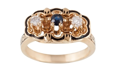 A DIAMOND AND SAPPHIRE THREE STONE RING, mounted in yellow g...