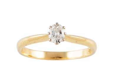 A DIAMOND SOLITAIRE RING, the oval brilliant cut diamond mou...