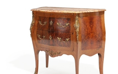 NOT SOLD. A French 20th century rosewood and root wood chest of drawers. H. 85....