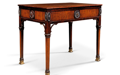 A GEORGE III MAHOGANY AND SATINWOOD-INLAID ARCHITECT'S TABLE