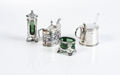 A GEORGE V SILVER SALT AND PEPPERETTE, LEVI AND