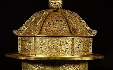 A GILT BRONZE DRAGON WITH FLOWERS PATTERN CENSER